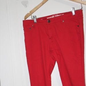 MOSSIMO SKINNY JEANS     2 PAIRS  RED AND BLUE